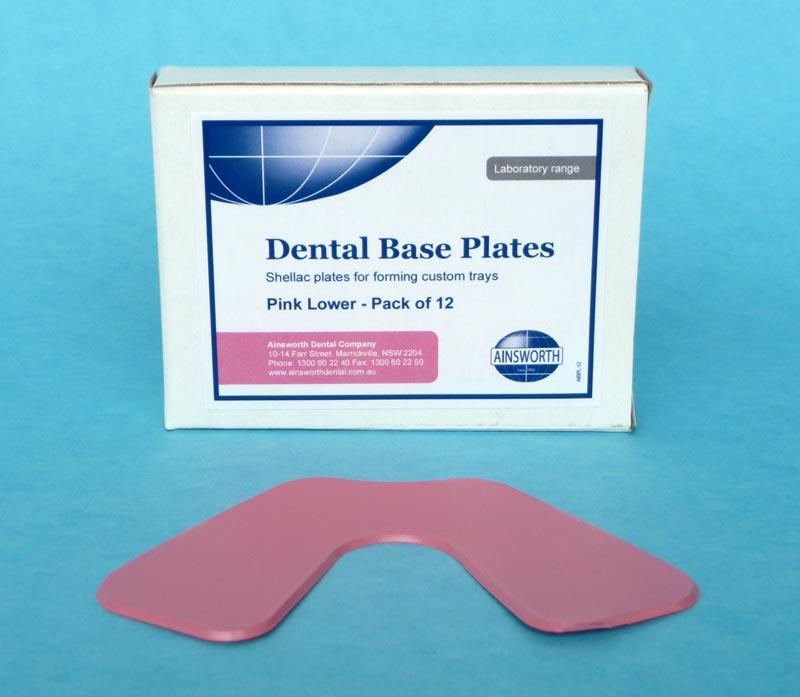 Dental Base Plates Pink Lower (Pack of 12)
