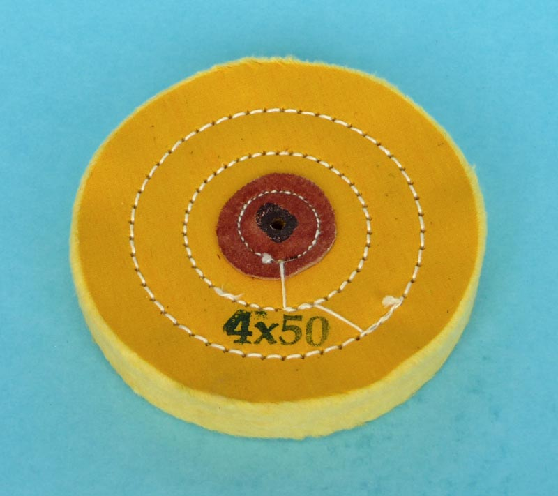 """Calico mop, Yellow, Stitched, 4"""" diam x 50 sheets"""