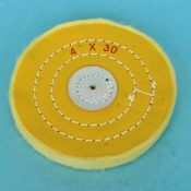 """Calico mop, Yellow, Stitched, 4"""" diam x 30 sheets"""